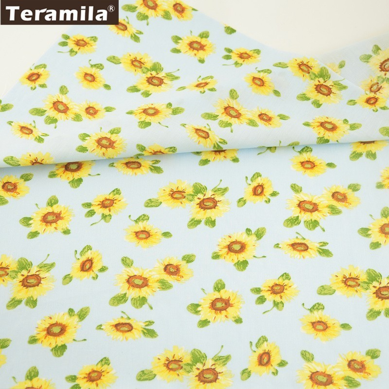 Home & Garden Tireless Teramila Cotton Poplin Fabric Sky Blue Home Textile Tecido Cloth Baby Dolls Crafts Decoration Printed Cartoon Sunflower Design Structural Disabilities Arts,crafts & Sewing