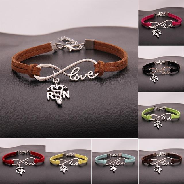 10pcs Lot Infinity Love Rn Nurse Charm Bracelet Bangles Leather Rope Wristband