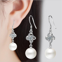 Everoyal New Arrival Female Crystal Clover Earrings For Women Accessories Trendy Silver 925 Girl Pearl Jewelry Lady