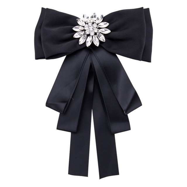 Woman Brooches Long Ribbon Big Bowknot Shirt s Bow Tie Pins Collar Cloth Accessories  Fashion Jewelry 286cef786218