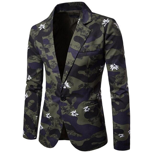 MarKyi 2017 neue camouflage herren blazer slim fit fashion frühling langarm  männliche blazer blumen luxus mens ba30d81f1c