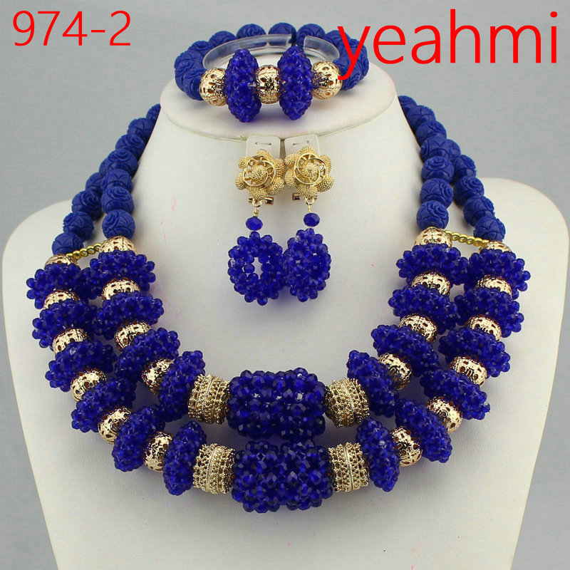 Fashion Jewelry Set African Coral Beads Exclusive Real Coral Pendant Bridal Necklace Set Copper Gold Accessory Free Ship 974-2 974 2