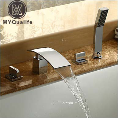 Chrome Waterfall bathroom Bath Tub Faucet Deck Mounted Tub Sink Mixer Tap with hand shower Widespread Bath Shower Set chrome finished 3pcs waterfall spout bathroom bath tub faucet mixer tap set w valve hand shower deck mounted