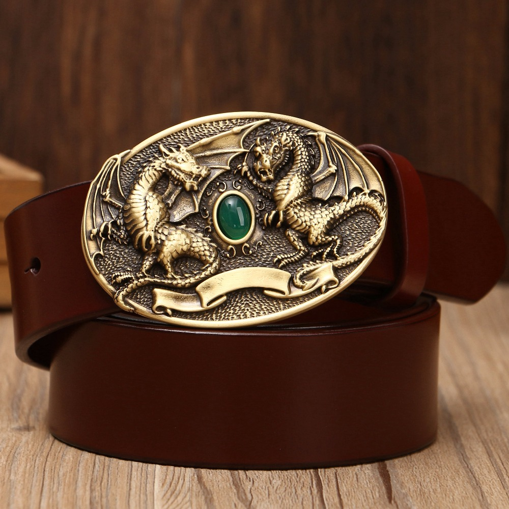 Solid Brass Buckle Full Grain Cowhide Genuine Leather Belts For Mens Fashion Casual 2018 Luxury New Designer Dragon Eagle Jaguar