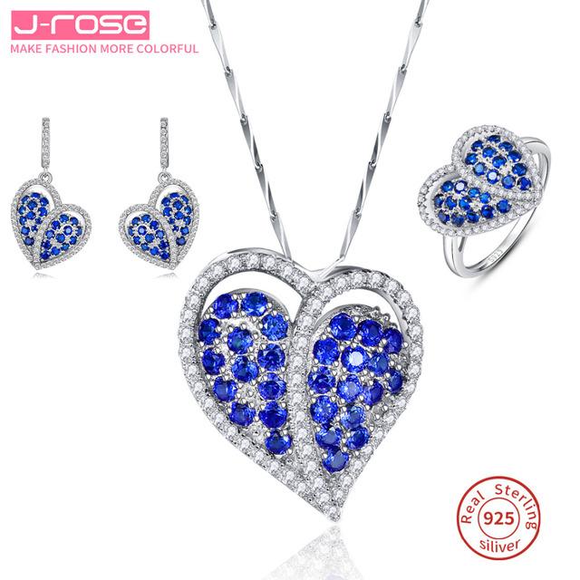 Jrose coração laboratório criado safira conjunto de jóias mulheres anel de noivado casamento jóias de prata esterlina 925 pingente brinco dangle