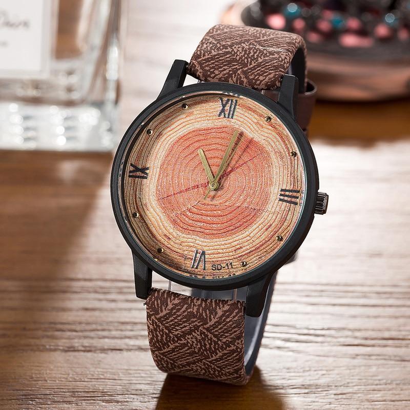 Neue 2017 Holz Retro Frauen Casual Uhren Marke Vintage Leder damen Quarzuhr Stunden Frau Mode Gesicht Holz kleid Uhr