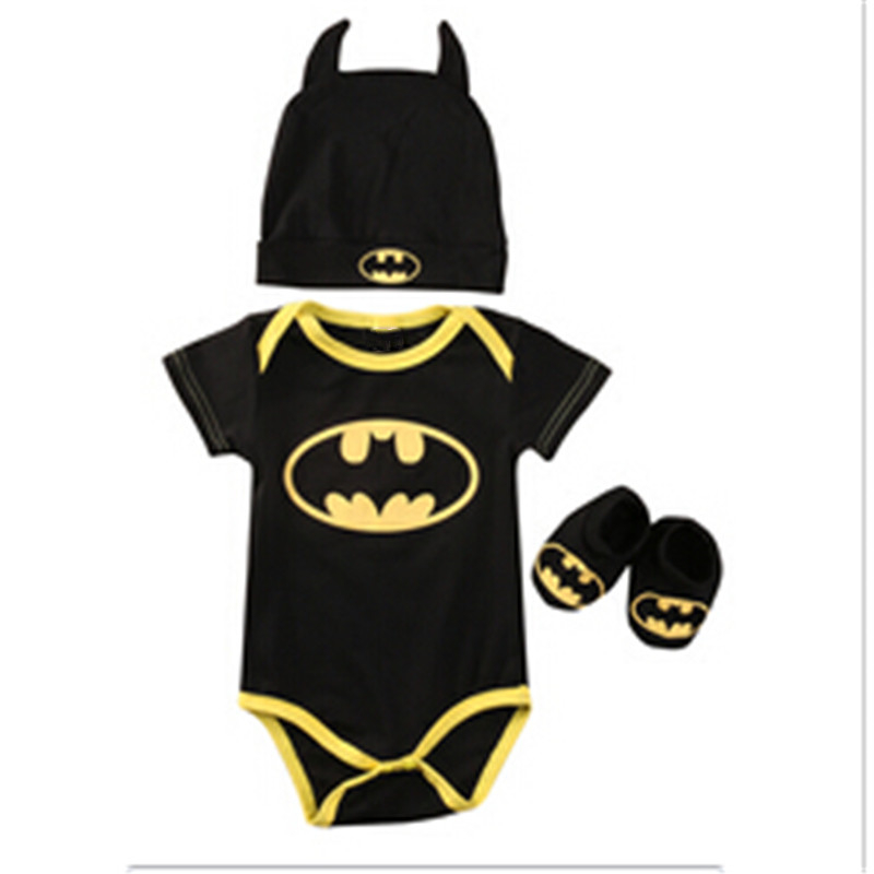Baby Boy Clothes Set Cool Batman Newborn Infant Baby Boy Romper+Shoes+Hat 3pcs 2017 New Arrival Fashion Outfits Set Clothes 0-2Y 3pcs set newborn infant baby boy girl clothes 2017 summer short sleeve leopard floral romper bodysuit headband shoes outfits