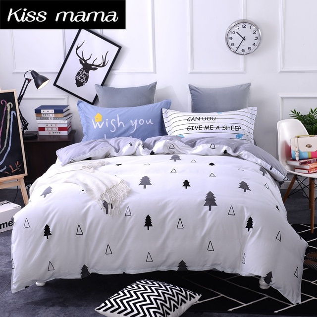 Charmant 100% Cotton Bedding Set King Size Nordic Duvet Cover Set Custom Size Bed  Clothes Grey