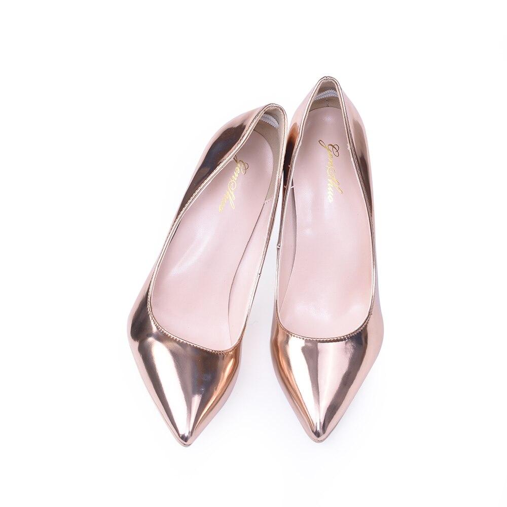 GENSHUO mujeres Sexy bombas zapatos 10 cm 12 cm oro rosa dedo del pie  puntiagudo zapatos de tacón alto para las Mujeres Partido baile metálico  punta Toe ... e49492eabc2c