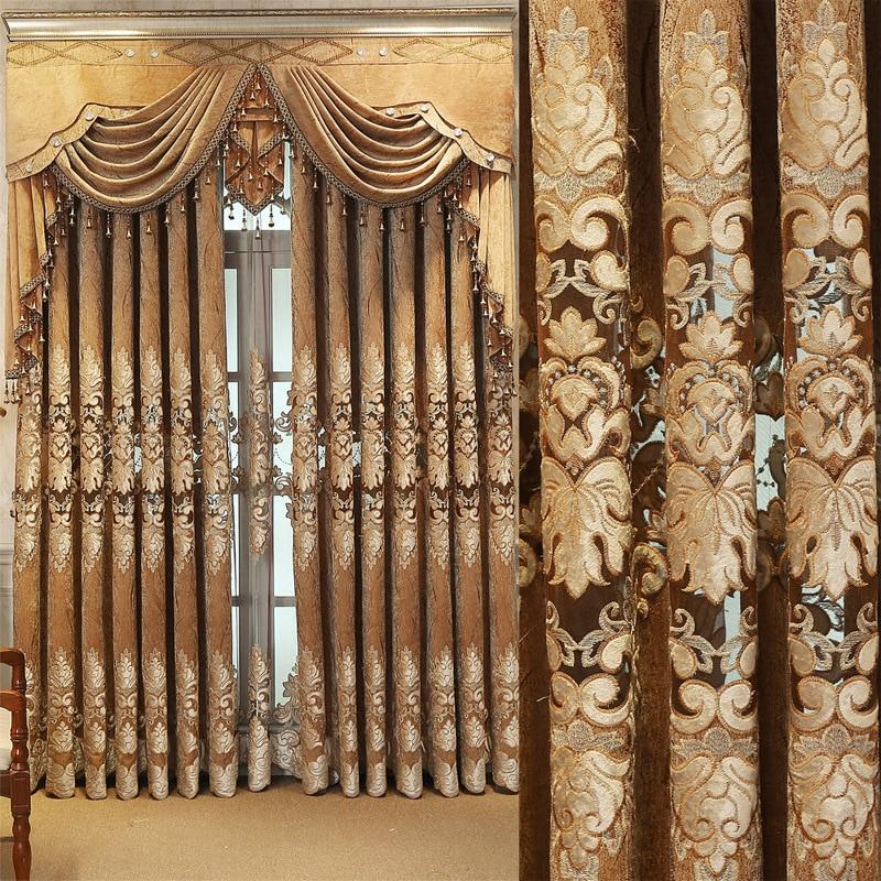 Rideaux en velours brodés de haute qualité pour rideaux européens de chambre à coucher pour fenêtre de cantonnière de salon Curtian