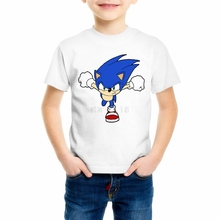 New Brand Boys/Girls T Shirts Sonic the Hedgehog Hipster Tees T-Shirts Hip Hop Kids T Shirts harajuku Cool Tees Top Z15-8