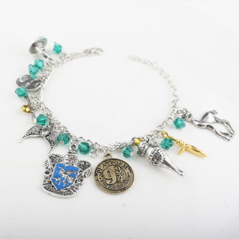 Fashion Time turner Horcrux wristlet Bracelets Deathly Hallows Stone Dark Mark Sorting Hat men and women Trinket