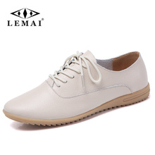 LEMAI Casual Loafers Women Genuine Leather Flat Boat Hollow Out Slip On Flat Breathable Lace Up Soft Gommino Summer 2018 Shoes