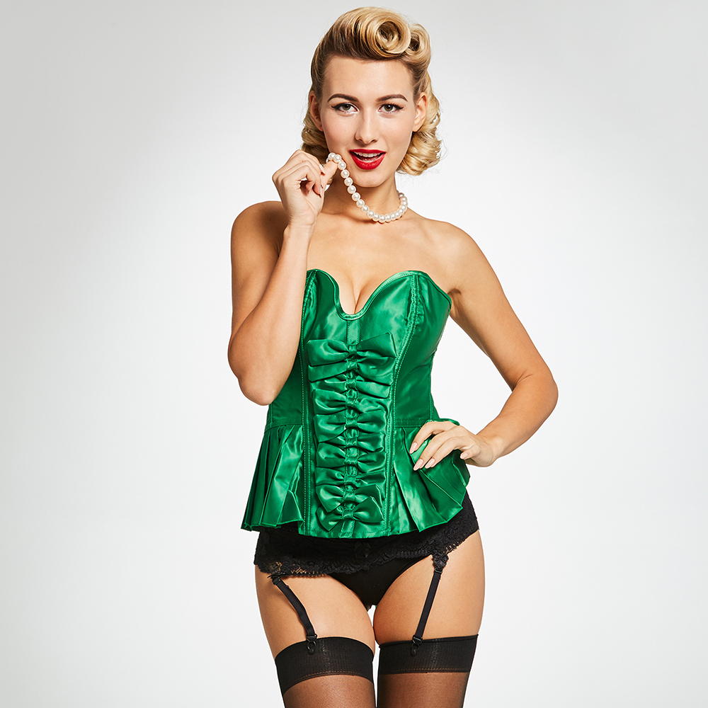Women   Bustier     Corset   Sexy Overbust Vintage Green Stylish Bowknot Pleated Slimming Ladies Underwear Lace Up Body Corselets