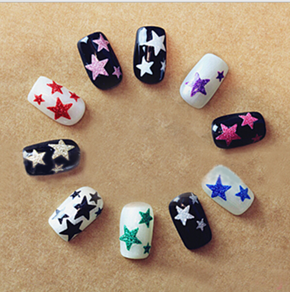 1 Sheet Beauty Glitter Shiny Stars Adhesive Hot Stamping 3D Nail Stickers Decals For Nail Art Tips Decorations Tools SANC132 24pcs lot 3d nail stickers decal beauty summer styles design nail art charms manicure bronzing vintage decals decorations tools