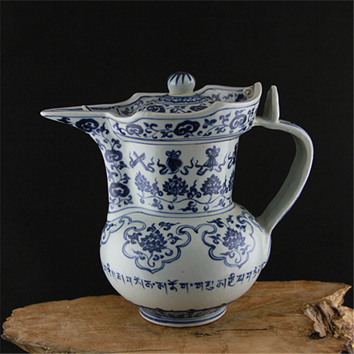 6 antique MingDynasty porcelain tea pot, blue and white bottle,hand painted crafts /collection & adornment,Free shipping