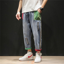 New Retro Hole Jeans Men Loose Ankle-Length Casual Pants Cotton Straight Streetwear Hip Hop Denim Trouser Male Plus Size Quality fashion hole straight high quality cotton full length hip hop new brand design men jeans as agift free shipping mf7489621
