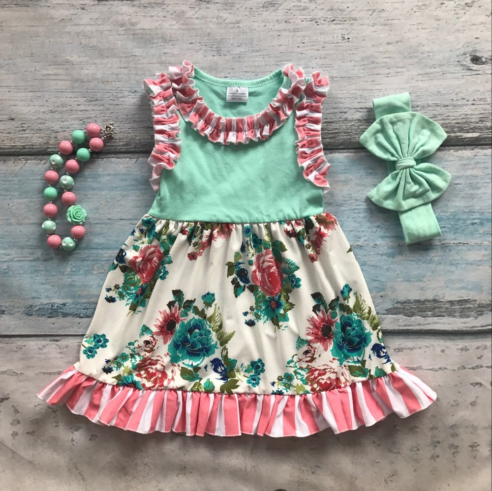 Spring summer cotton design new baby girls kids boutique clothing dress sets mint floral ruffles with