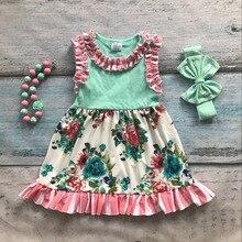Printemps été coton conception nouveau bébé filles enfants boutique vêtements dress ensembles menthe floral ruches avec accessoires assortis ensemble