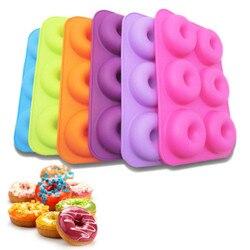 Seis treliça multicolorido donut ferramenta de cozimento bolo de cozinha molde brilhantemente colorido silicone donut cozimento pan ferramentas de decoração #2