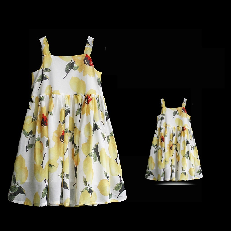Summer children chiffon family look clothing kids girls flower holiday beach lemon dress matching mother and daughter slip dress summer brand children chiffon family look clothes kids mom girl flower print beach dress matching mother daughter fashion dress