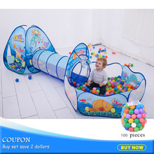 3pcs / set Folding Kids Pool-Tube-Teepee Toy Telt Pop-up Baby Crawling Tunnel Kæmpe Med 100st Ball Pool Lodge Telt Toy 985-Q64