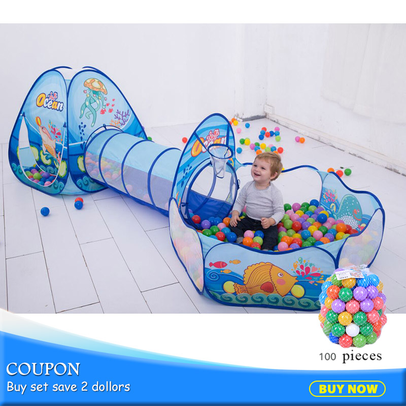 3pcs/set Folding Kids Pool-Tube-Teepee Toy Tents Pop-up Baby Crawling Tunnel Huge With 100pcs Ball Pool Lodge Tents Toy 985-Q64