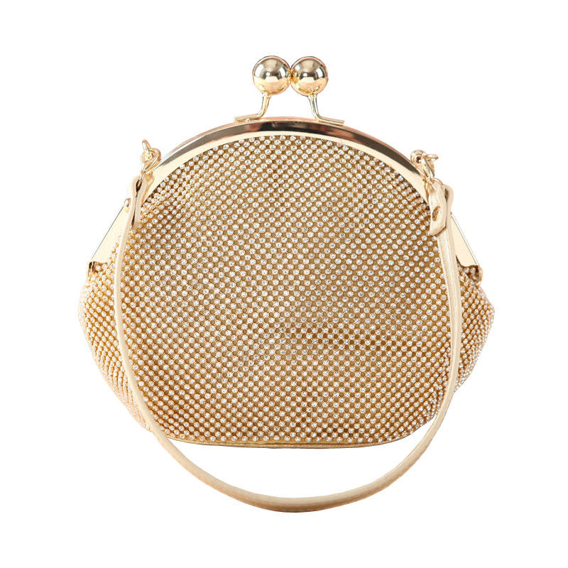 Ladies Mini Gold Rhinestone Hand Bags Silver Evening