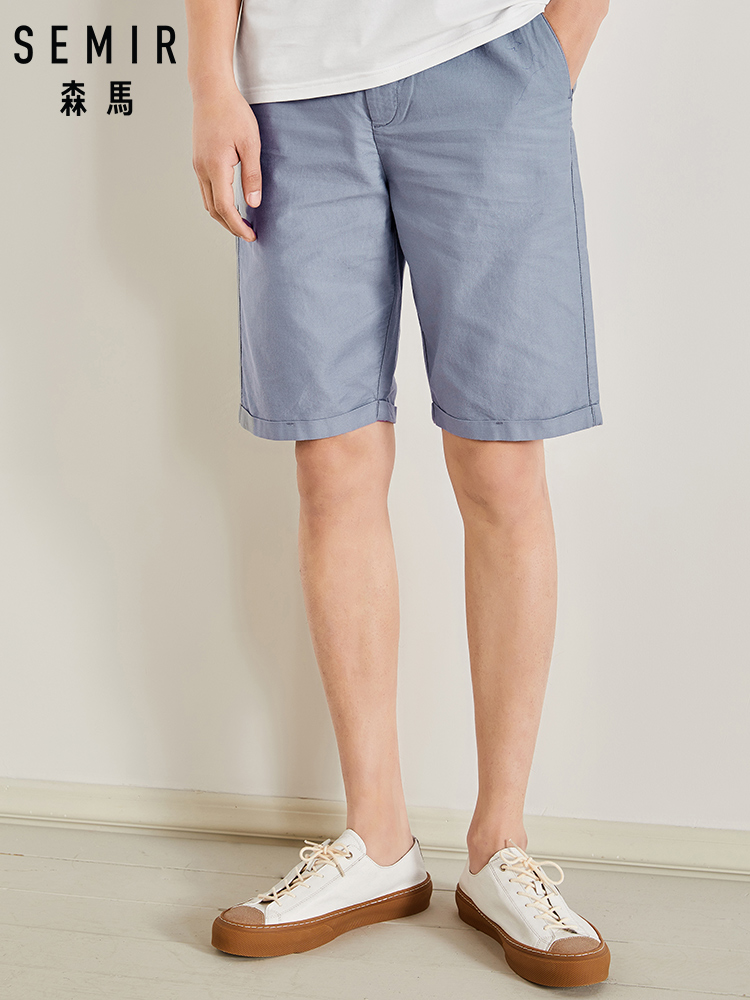 SEMIR Mens Knee-length Cotton Shorts with Elastic Drawstring Waist Men's Sweatshort with Side Pockets Summer Shorts Short Pants