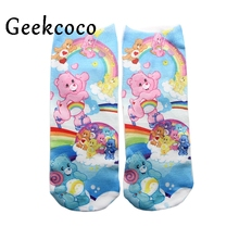 Rainbow Bear Colorful Cute Cartoon 3D Printed Middle Tube Socks for Women Girls Adult Sports Stocking One Side Printing J0422