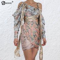 JOYDU BEST QUALITY Runway Flora Print Silk Dresses Women Off Shoulder Lace Up High Waist Hollow Out 2019 Vintage Draped Dress