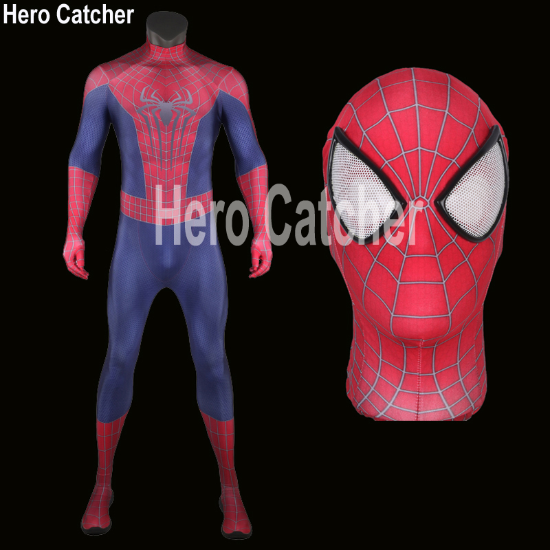 Hero Catcher High Quality Classic Amazing Spiderman Costume 3D Print Spiderman Suit Fullbody Spandex Spiderman Cosplay Costume