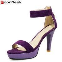 MoonMeek Big size 34 43 2016 new high heels women sandals sexy red black purple suede platform summer wedding shoes