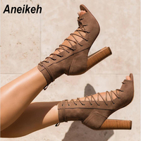 Aneikeh Gladiator Style Open Toe Suede Lace Up Chunky Heel Sandal Boots Spring Autumn Block Heels Ankle Booties Woman Shoes