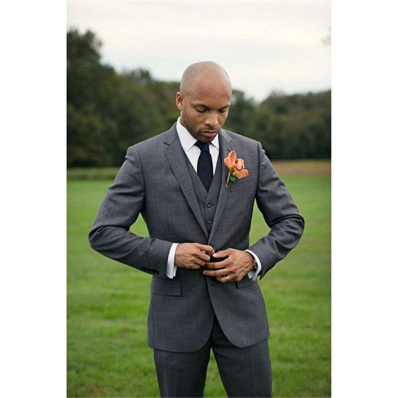 2019 Custom made costume homme New mens suits Dark Grey Groomsmen Tuxedos Slim Fit Men Wedding Suit ( jacket+Pants+vest+tie)