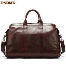 PNDME men's cintage first Layer cowhide hand travel bag simp