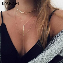 IPARAM Gold Sequins Long Tassel Star Choker Necklace Bohemian Women's Multilayer Sequins Long Pendant Collar Necklace Jewelry Gi