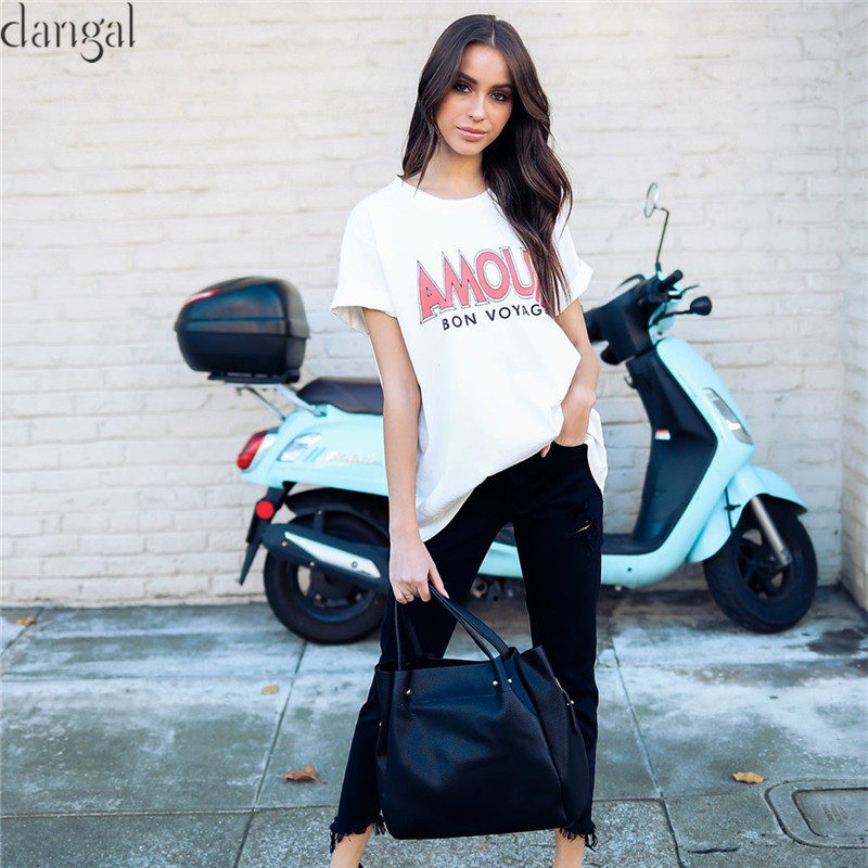 White Eman T shirt Fashion Women T-shirt Short Sleeve Loose Women's T-shirt Printed Letters Top Tees Loose Female Clothes 2018