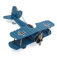 DIY Vintage Large Retro Blue Plane Airplane Aircraft Models Toys For Children Glider Biplane Home Decor Ornament Toys 8.5''