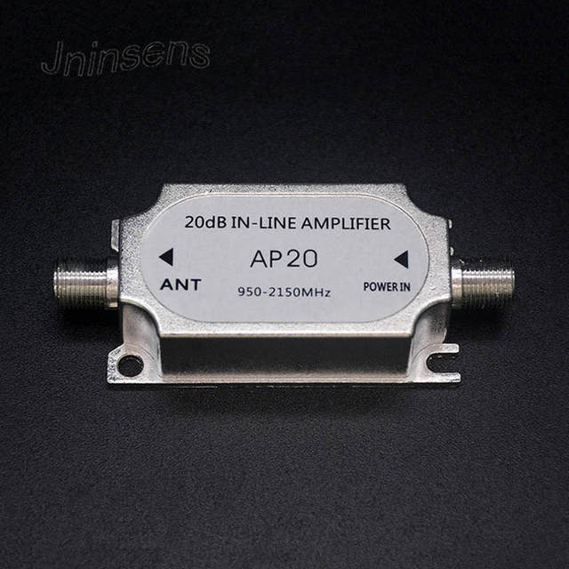 Jninsens Satellite TV Tuner Inline Amplifier 20dB Signal Booster Strengthen  for Dish Network Antenna All Satellite Applications