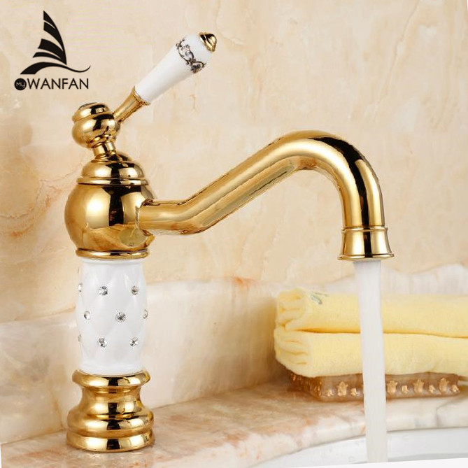 Basin Faucets Brass Golden White Deck Mounted Bathroom Sink Faucet Single Porcelain Handle Bath Mixer Water Tap  WC Cock QX-9018 single handle white ceramic bathroom faucet single hole wash basin faucets bathroom tap chorm brass water faucet for bathroom