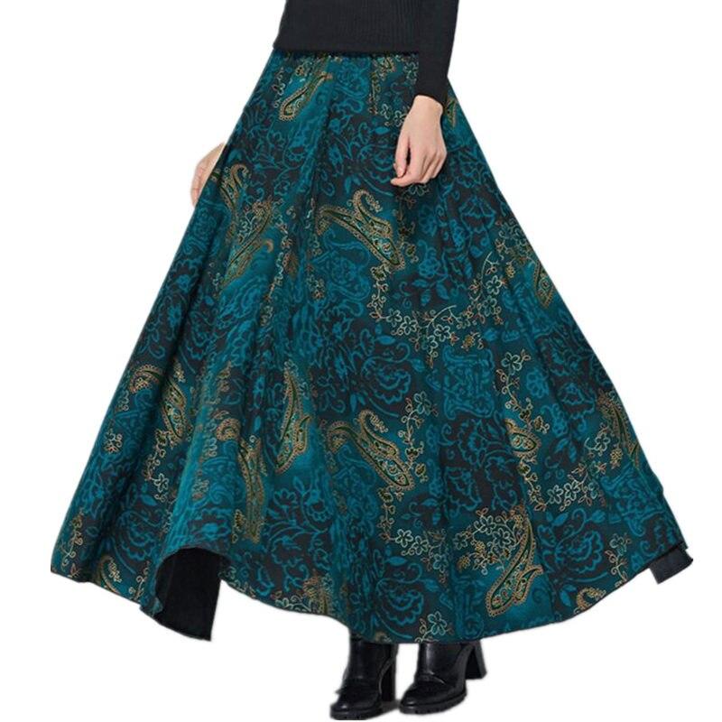 Vintage Wool Skirts Womens High Waist Jupe Femme Print Flower Long Skirt Faldas Autumn Winter Maxi