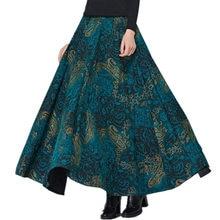 Винтажные шерстяные юбки женские с высокой талией Jupe Femme с цветочным принтом длинная юбка Faldas осень зима Макси теплая шерстяная плиссированная юбка Z79