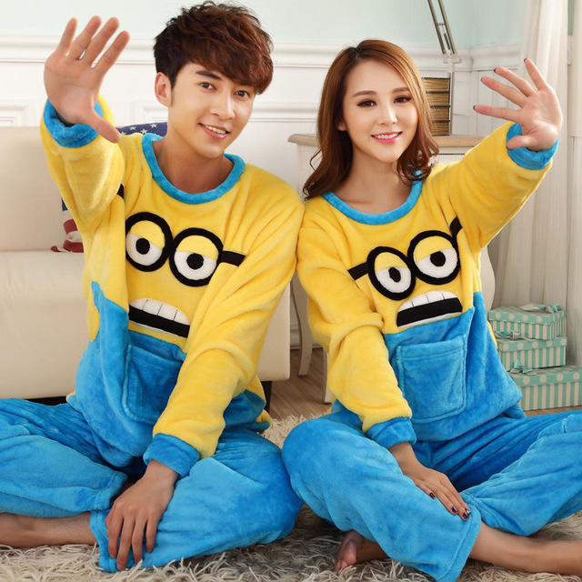 Minions Kigurumi Onesie For Adult Cute Pajama Party Suit Flannel Warm Sleepwear Winter Festival Play Minions Cosplay Costume