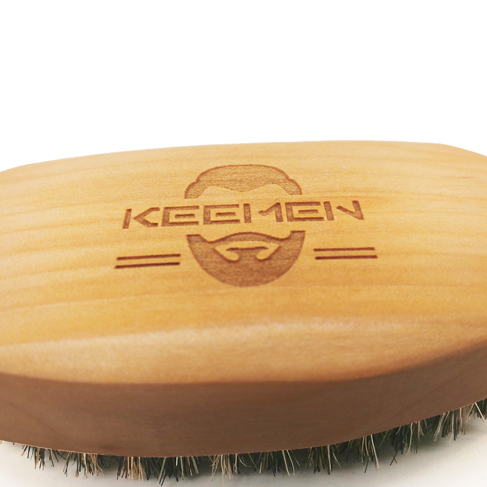 Купить с кэшбэком 50 pcs/lot Private Label Your LOGO Customized Wood Beard Brush with White Gift Box with Boar Bristle Wooden Brush  Imprint LOGO
