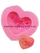 Heart Shaped Soap Making Flowr Rose Carving Mold cake decorating chocolate Hand Made Silicone