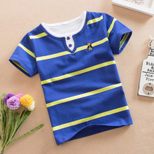 Summer 2018 Boys Short Sleeve Striped T-Shirt Kids Clothes Turn-down Collar Casual Children School Clothing 3-12Years Boy tshirt(China)
