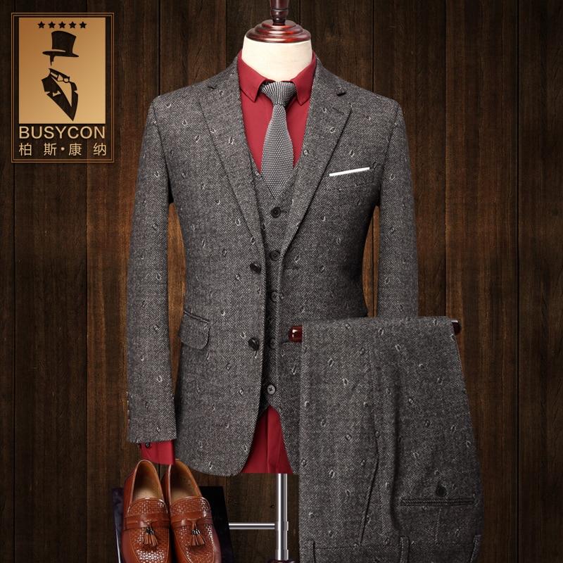 Grey Men Wool Suits Wedding Groom Terno Slim Fit Eye