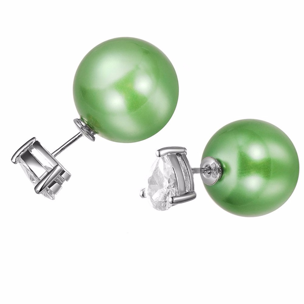 Heezen Fashion Jewelry Crystal Ball Stud Double Sided