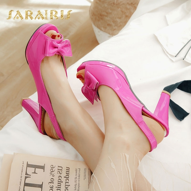 4201e7188 SaraIris Vintage Chunky High Heels Open Peep Toe Platform Cute Bow Tie  Summer Shoes Woman Sandals Large Size 32-45